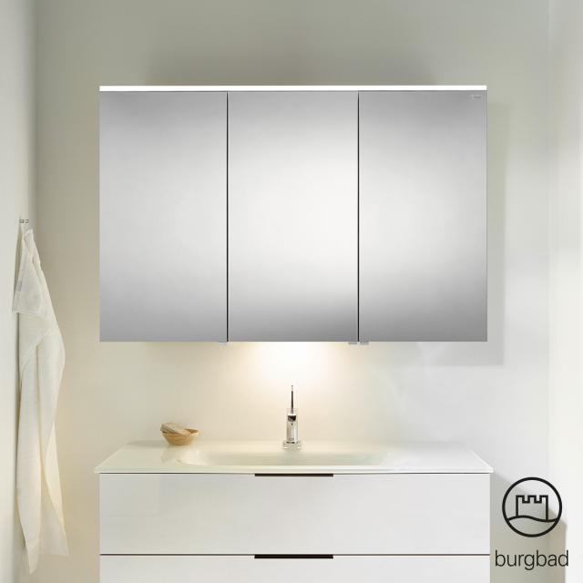 Burgbad Eqio mirror cabinet with LED lighting with 3 doors white gloss, with washbasin lighting