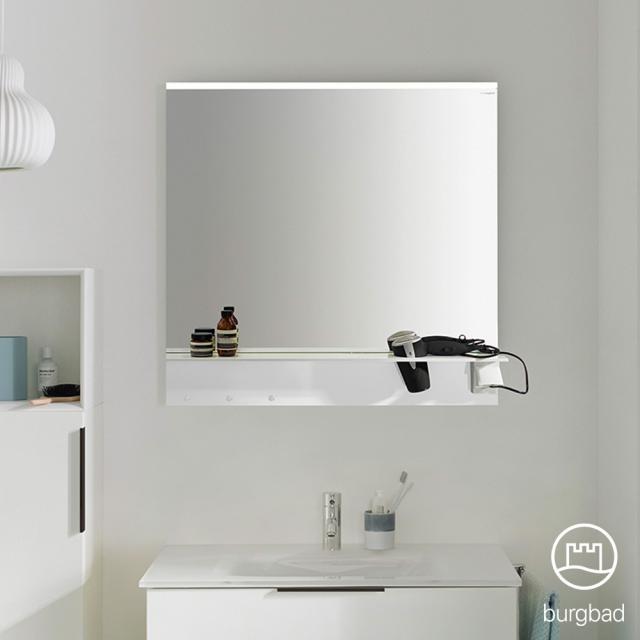 Burgbad Eqio mirror with horizontal LED clip-on light and shelf white gloss