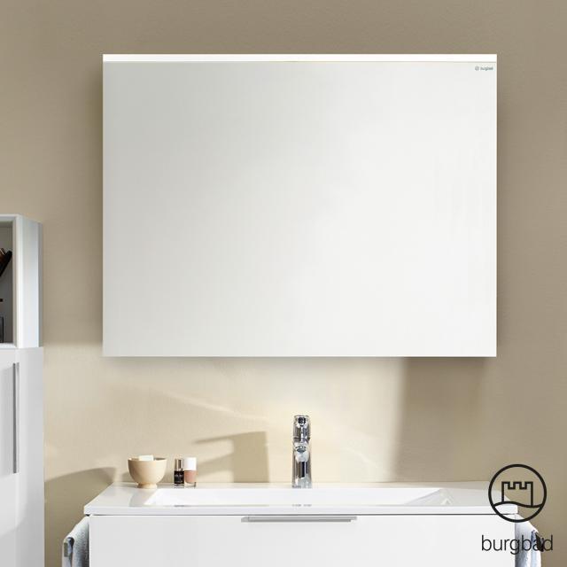 Burgbad Eqio mirror with horizontal LED clip-on light frassino cappuccino decor