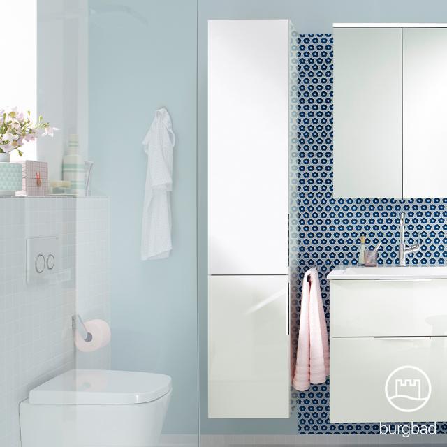 Burgbad Eqio tall unit with 2 doors front white high gloss / corpus white gloss, handles chrome
