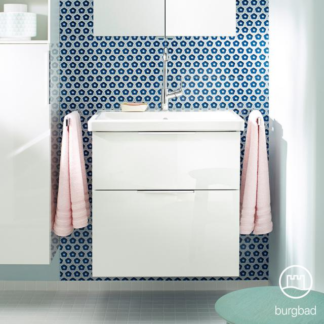 Burgbad Eqio washbasin with vanity unit with 2 pull-out compartments front white high gloss / corpus white gloss, handles chrome