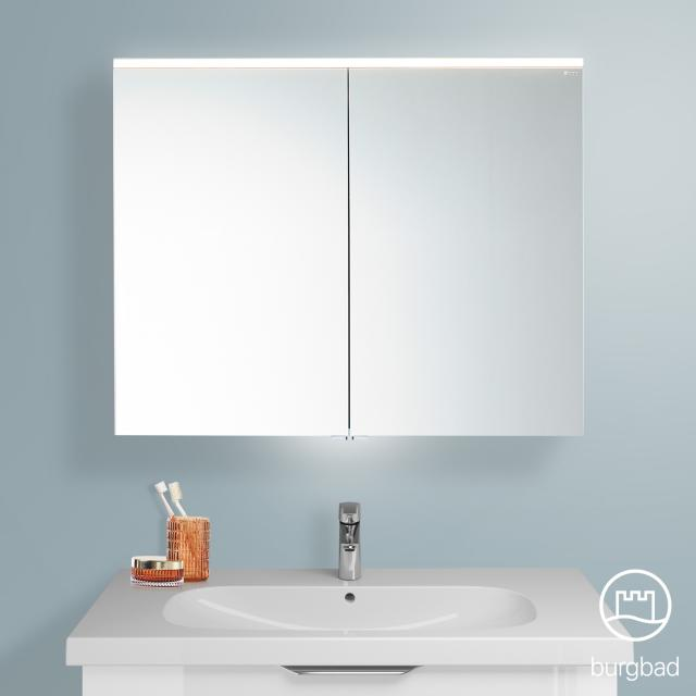 Burgbad Euro mirror cabinet with LED lighting and 2 doors white high gloss
