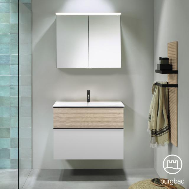 Burgbad Fiumo bathroom furniture set washbasin with vanity unit and mirror cabinet front matt white/cashmere oak decor / corpus matt white, handle strip matt black