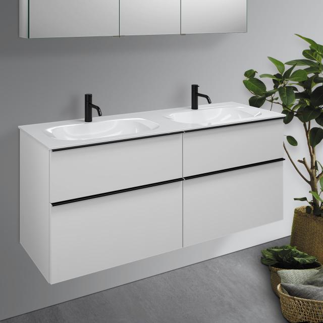 Burgbad Fiumo double washbasin with vanity unit with 4 pull-out compartments front matt white / corpus matt white, handle strip matt black