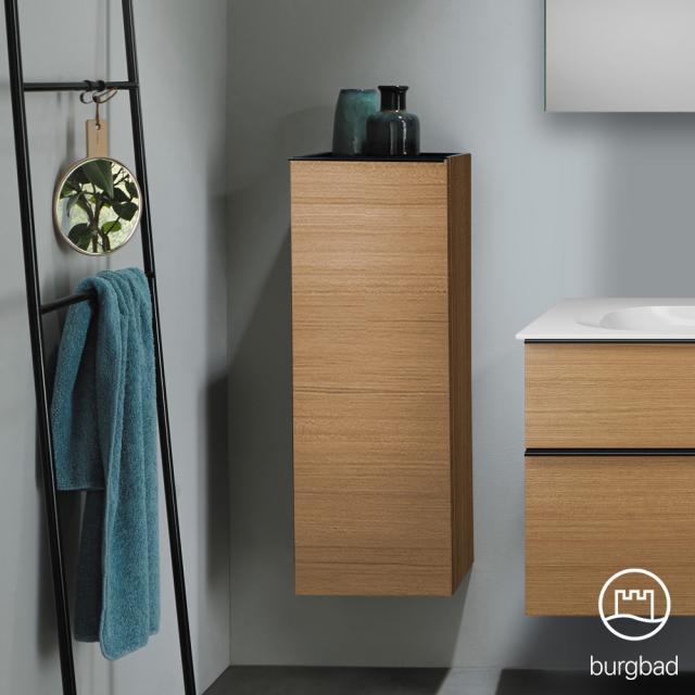 Burgbad Fiumo medium unit with 1 door front tectona cinnamon decor / corpus tectona cinnamon decor, handle strip matt black