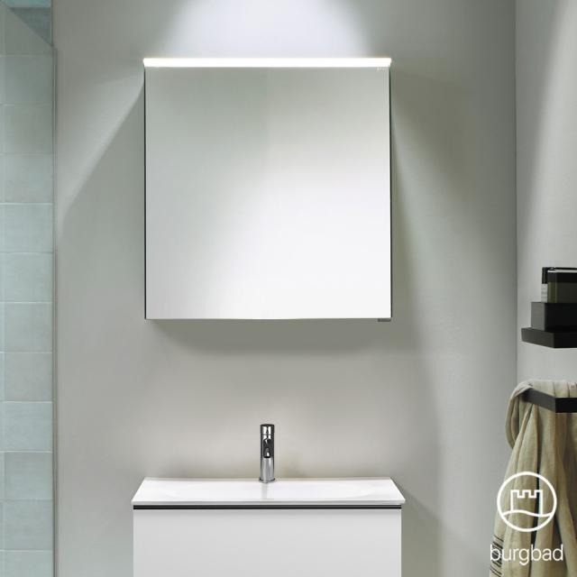 Burgbad Fiumo mirror cabinet with LED lighting with 1 door without washbasin lighting