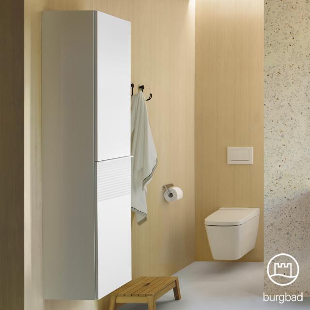 Burgbad Fiumo tall unit with 2 doors front matt white / corpus matt white, handle strip matt white