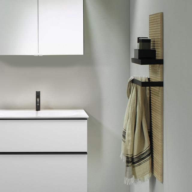 Burgbad Fiumo wall panel with two towel rails cashmere oak decor