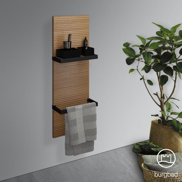 Burgbad Fiumo wall panel with two towel rails tectona cinnamon decor