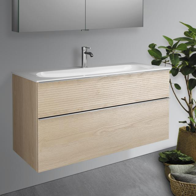 Burgbad Fiumo washbasin with vanity unit with 2 pull-out compartments front cashmere oak decor / corpus cashmere oak decor, handle strip chrome