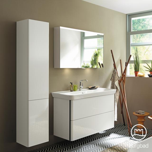 Burgbad Iveo mirror cabinet with LED lighting with 2 doors with washbasin lighting