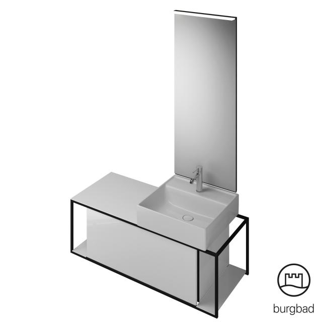 Burgbad Junit bathroom furniture set ceramic washbasin incl. vanity unit and mirror front white high gloss / corpus white high gloss