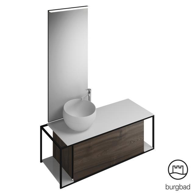 Burgbad Junit bathroom furniture set mineral cast washbasin incl. vanity unit and mirror front marone truffle decor / corpus marone truffle decor
