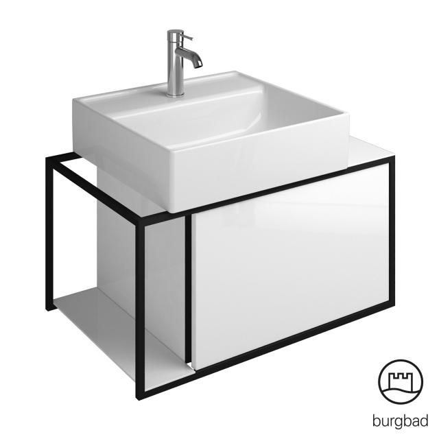 Burgbad Junit countertop washbasin incl. vanity unit with 1 pull-out compartment front white high gloss/corpus white high gloss