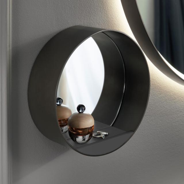 Burgbad mirror with shelf matt anthracite