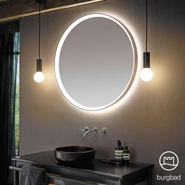 Burgbad mirror with surrounding LED frame