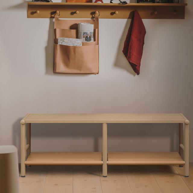Burgbad Mya lowboard with 2 compartments natural oak/honey brown