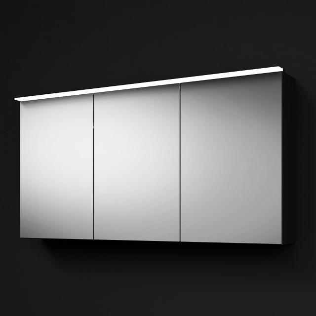 Burgbad RC40 Solitaire mirror cabinet with LED lighting with 3 doors corpus dark grey high gloss, with washbasin lighting