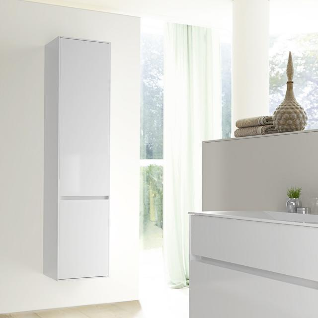 Burgbad RC40 Solitaire tall unit with 1 door and 1 laundry basket front white high gloss / corpus white high gloss