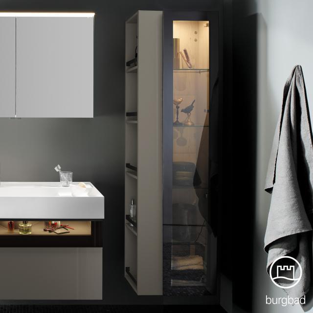 Burgbad Yumo tall unit with LED lighting with 1 door and 1 rack front grey high gloss/bronze/corpus grey high gloss