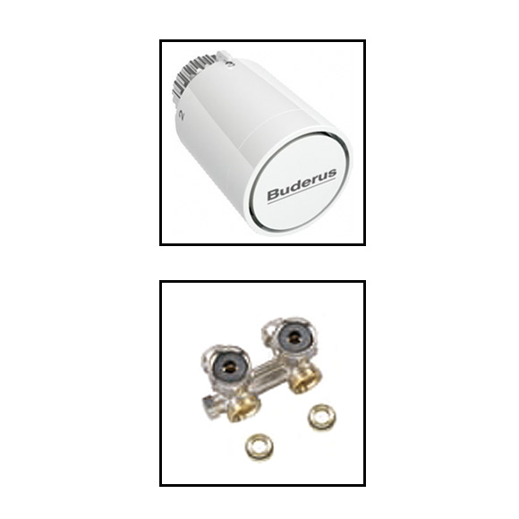 Buderus Logatrend accessory set thermostat head with valve block