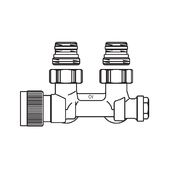 Buderus OV Multiblock T two-pipe fitting, with pre-setting