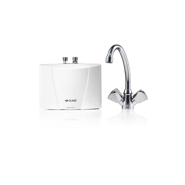 Clage mini instant water heater, under sink installation with two handle mixer M 3 / SNM, 3.5 kW - 230 Volt