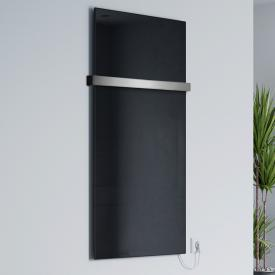 Corpotherma Glas infrared heating panel set with towel rail black, 800 Watt