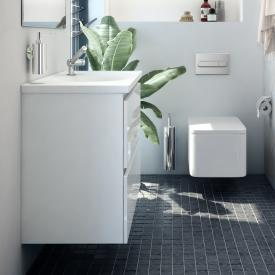 Cosmic b-box round washbasin with vanity unit with 2 pull-out compartments front matt white / corpus matt white