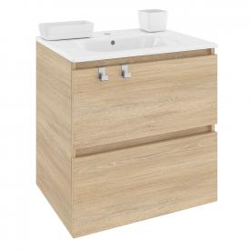 Cosmic b-box square washbasin with vanity unit with 2 pull-out compartments front natural oak / corpus natural oak