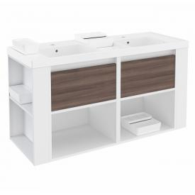 Cosmic b-smart double washbasin with vanity unit, 2 pull-out compartments and 2 compartments front ash/white / corpus white