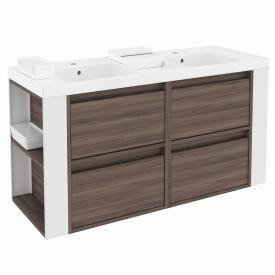 Cosmic b-smart square double washbasin with vanity unit with 4 pull-out compartments front ash/white / corpus ash