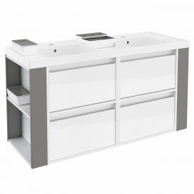 Cosmic b-smart square double washbasin with vanity unit with 4 pull-out compartments front white gloss/grey / corpus white gloss