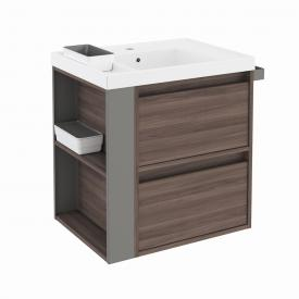 Cosmic b-smart washbasin with vanity unit with 2 pull-out compartments front ash/grey / corpus ash