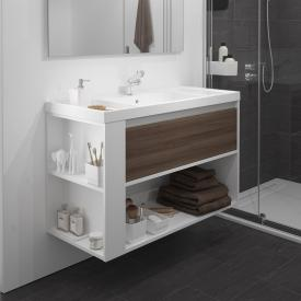 Cosmic b-smart washbasin with vanity unit and 1 pull-out compartment and 1 compartment front ash/white / corpus white / WB white