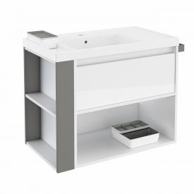Cosmic b-smart washbasin with vanity unit and 1 pull-out compartment and 1 compartment front white gloss/grey / corpus white gloss / WB white