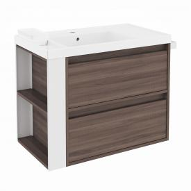 Cosmic b-smart washbasin with vanity unit with 2 pull-out compartments front ash/white / corpus ash