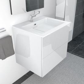 Cosmic block evo washbasin with vanity unit with 2 drawers front white gloss / corpus white gloss / WB white gloss
