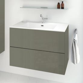 Cosmic block evo washbasin with vanity unit with 2 drawers front olive grey gloss / corpus olive grey gloss / WB white gloss