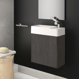 Cosmic fancy hand washbasin with vanity unit with 1 door front slate oak / corpus slate oak / WB matt white