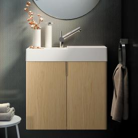 Cosmic fancy hand washbasin with vanity unit with 2 doors front oak / corpus oak / WB matt white