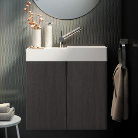 Cosmic fancy hand washbasin with vanity unit with 2 doors front slate oak / corpus slate oak / WB matt white