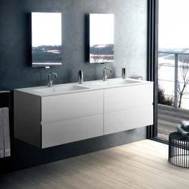 Cosmic Mod Lavabo double avec meuble sous-lavabo, 4 tiroirs Façade blanc mat/corps du meuble blanc mat
