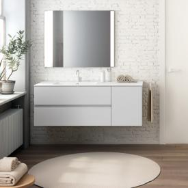 Cosmic Mod washbasin with vanity unit with 2 pull-out compartments and 1 door front matt white / corpus matt white