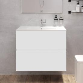 Cosmic Mod washbasin with vanity unit with 2 pull-out compartments front matt white / corpus matt white