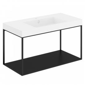 Cosmic The Grid Evo washbasin with metal stand with fixed shelf front matt black / corpus matt black