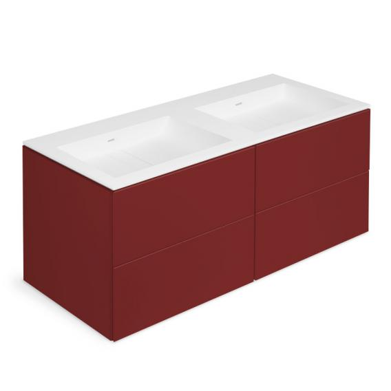 Cosmic Block double washbasin with vanity unit with 4 pull-out compartments front matt ruby / corpus matt ruby