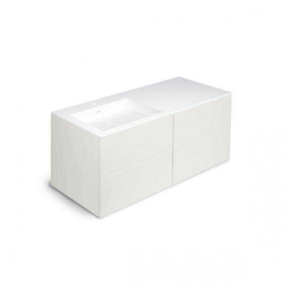 Cosmic Block washbasin with vanity unit with 4 pull-out compartments front matt white / corpus matt white / WB matt white