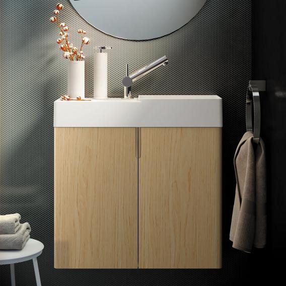 Cosmic fancy hand washbasin with vanity unit with 2 doors front oak / corpus oak / WB matt white