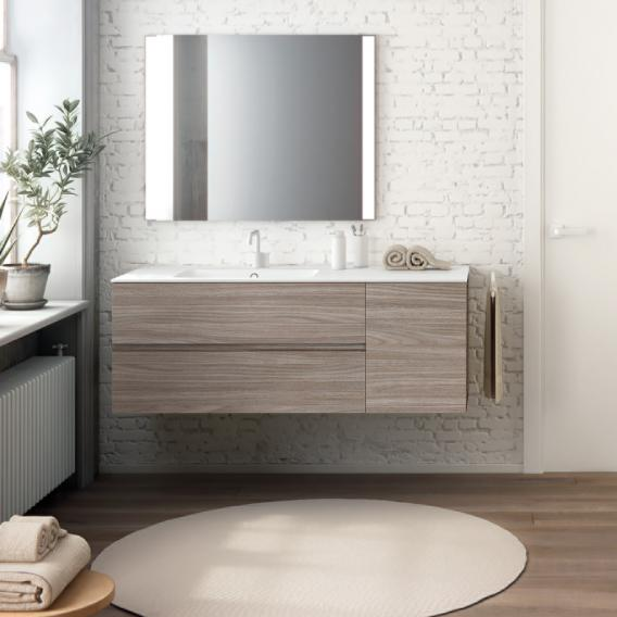 Cosmic Mod washbasin with vanity unit with 2 pull-out compartments and 1 door front american walnut / corpus american walnut
